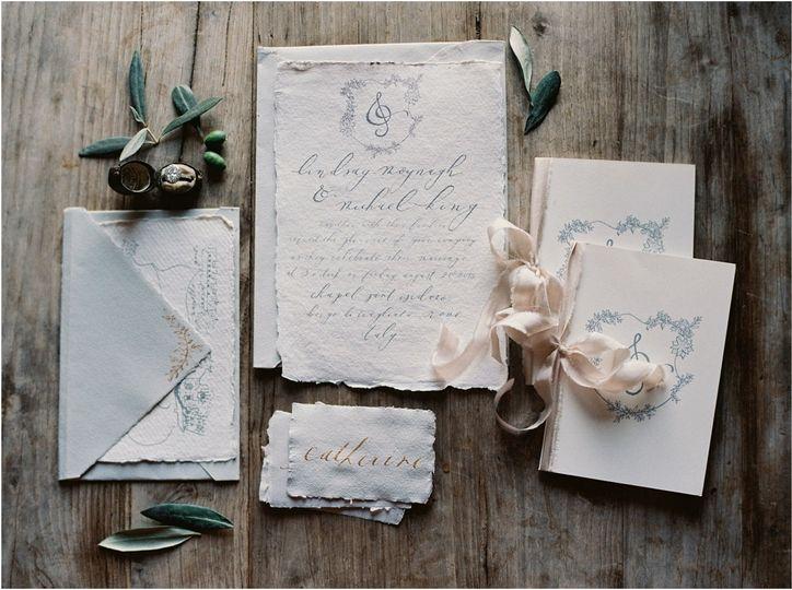italian handmade paper calligraphy invitation suit