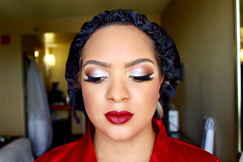 Bridesmaid Look with Bold Lips