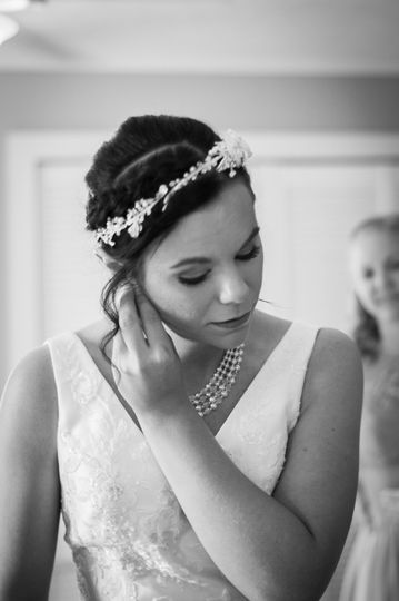 Maid of honor looking on
