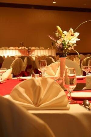 Table set up with napking folded