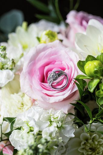 Wedding ring on the flower
