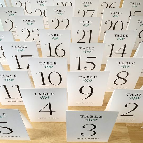 Handmade tented table numbers
