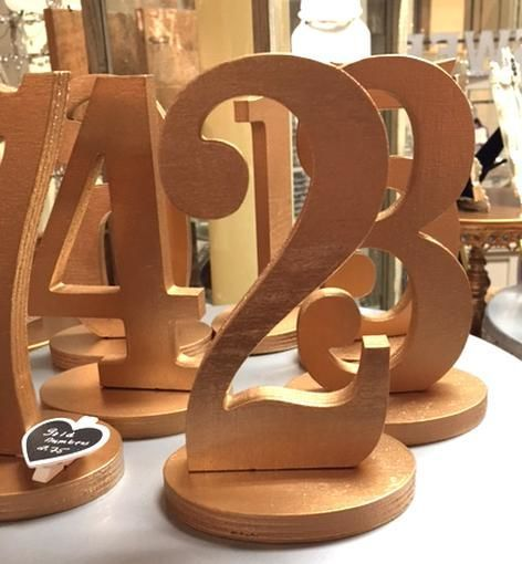 Gold Wooden Table Numbers