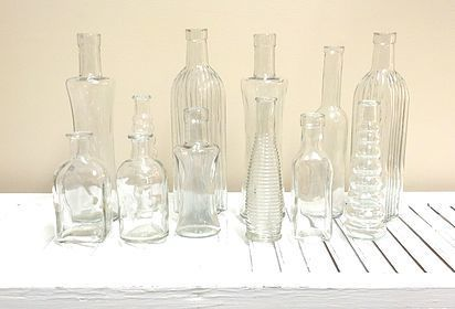 Vintage Bottles, Clear and green glass