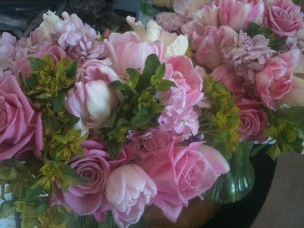 bridesmaids bouquets of stock roses tulips an