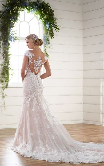 Classic romantic lace gown with an illusion back.