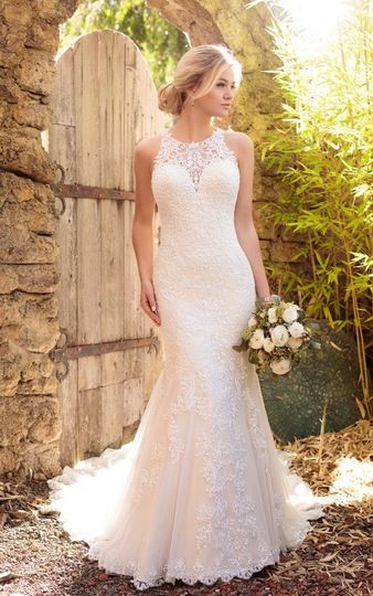 Vintage halter gown with soft crystal beading.