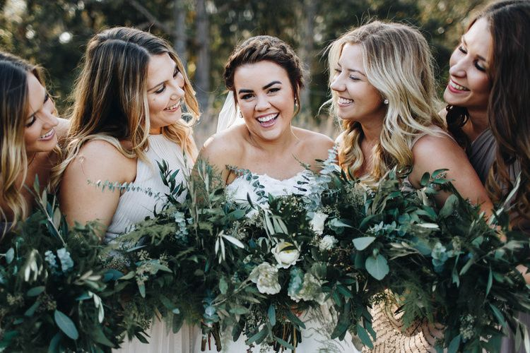 The women holding the bouquet