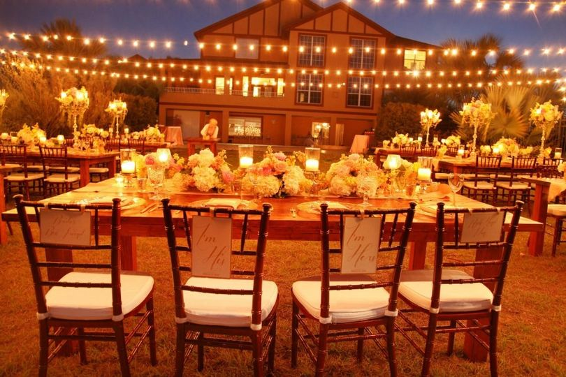 Market lights for an outdoor reception.