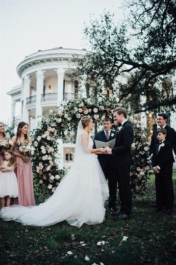 Ceremony under oaks