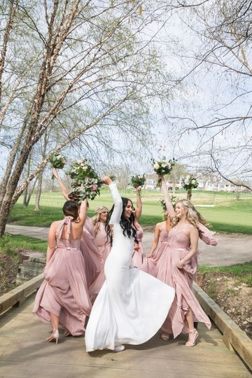 Bridesmaids Having fun at Glenn Oaks Country Club by Thisday Photography