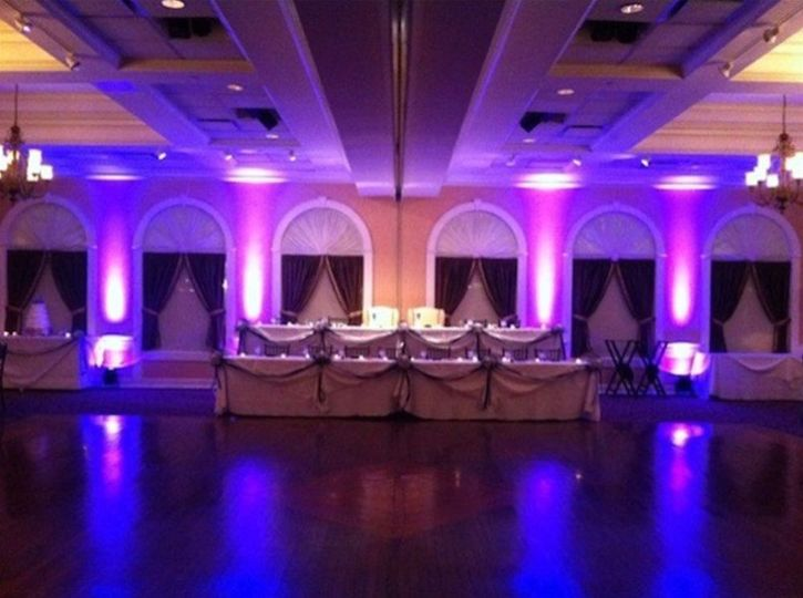 Head table and reception uplighting