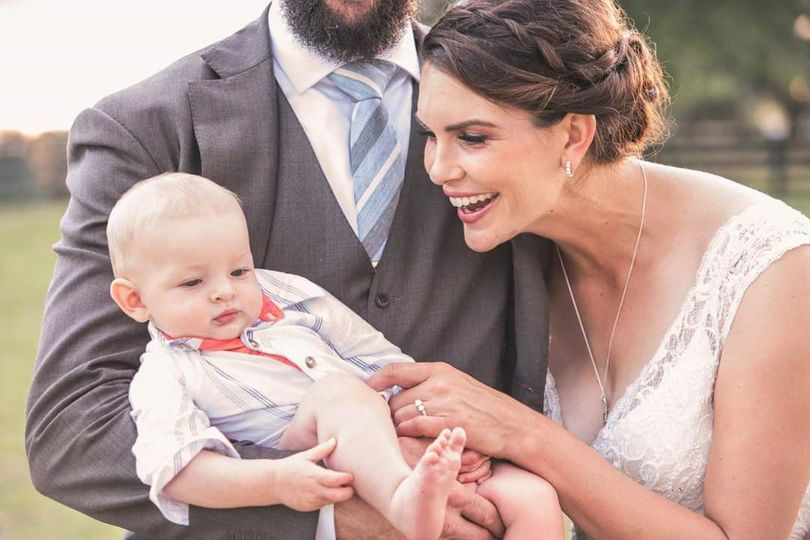 Beautiful bride and baby