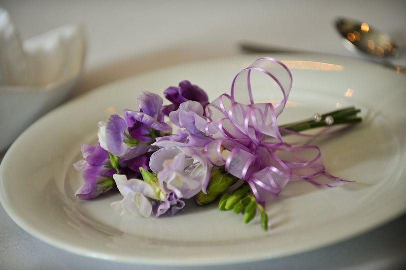 Purple boutonniere