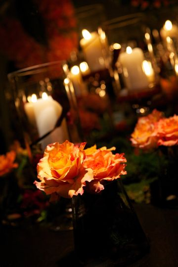 Orange flowers and candles