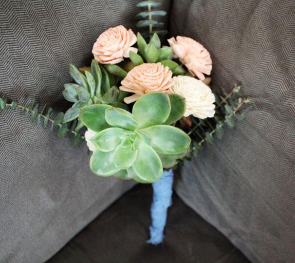 Succulent & wood floral