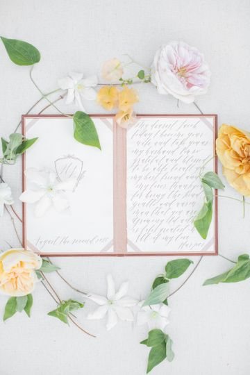 Calligraphy within a vow book