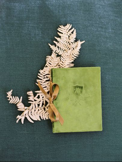Custom Antique Velvet Vow Book