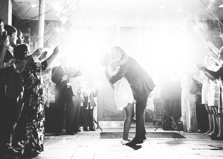 Newlyweds kiss!