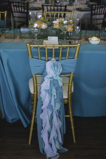The Harbor Room includes Chiavari chairs and has unique linen available to rent