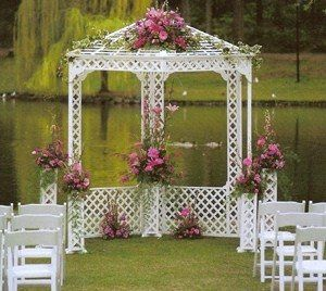 Our wooden gazebo and wooden chairs
