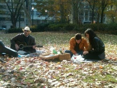 A surprise wedding proposal in Rittenhouse Square, Philadelphia. Hal Aaron entertained while they...