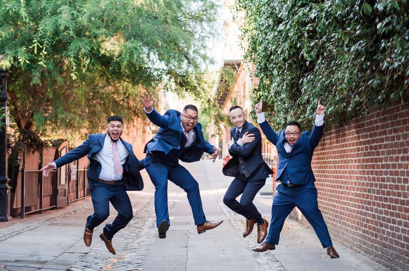 Groomsmen jumping for joy!