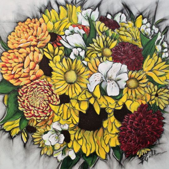 """16"""" x 16"""" Fall bouquet on Wood Panel"""