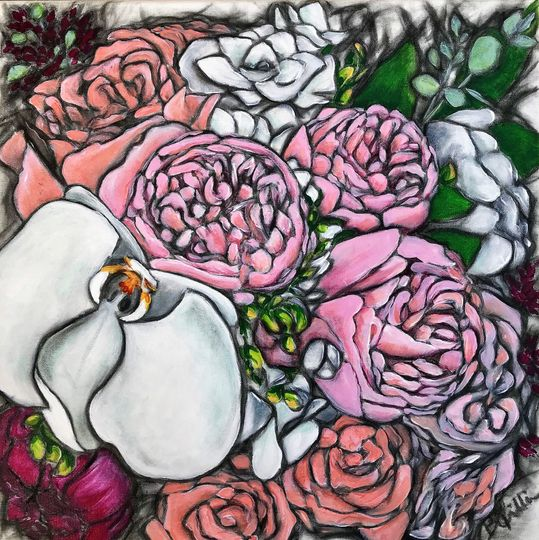 """16"""" x 16"""" Beautiful bouquet on gallery wrapped canvas"""
