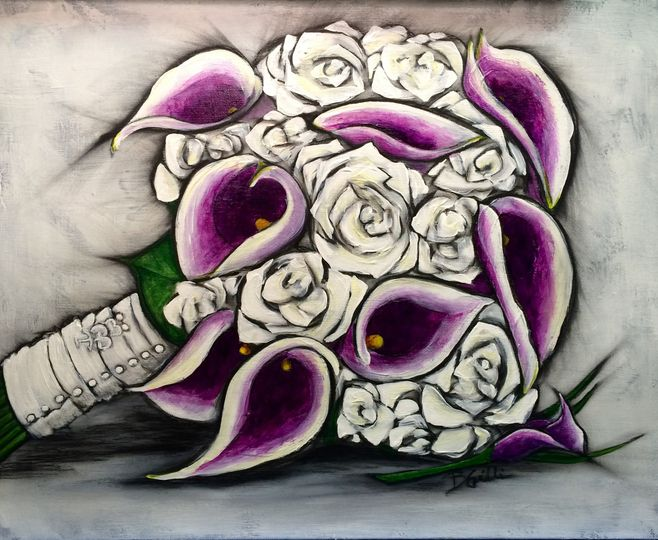 """16"""" x 20"""" Bouquet painting featuring heirloom pins on the ribbons"""