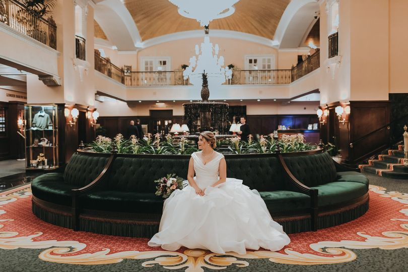 Bride in hotel lobby