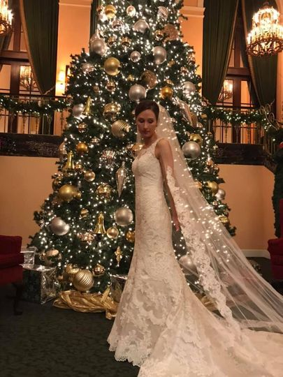 Christmas bride with trail