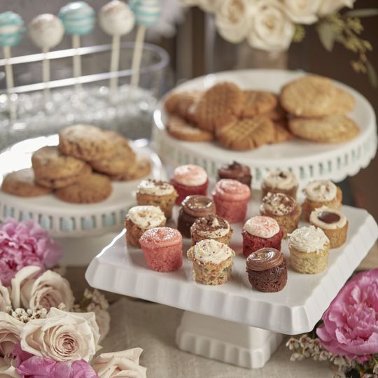 Dessert Bar with Minis, Cookies, CakePops, and flowers
