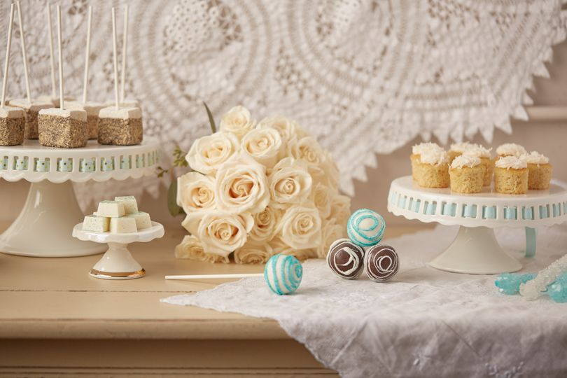 Wedding/Event table design with Minis, S'mores Marshmallow Pops, White Chocolate BonBons, Cake Pops...