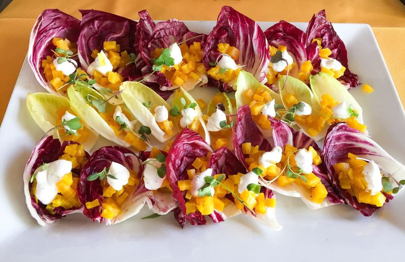 Golden beet appetizer