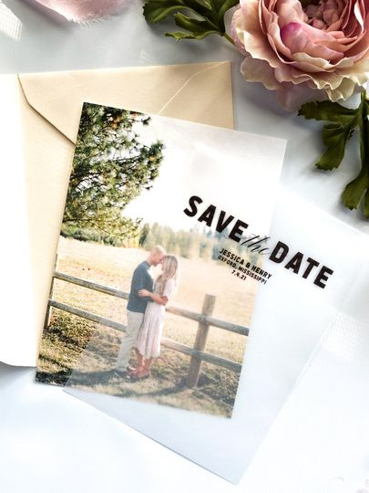 Save-the-date with vellum overlay