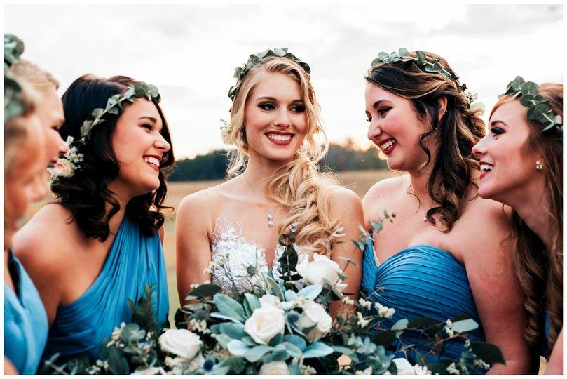 Bride and bridesmaid