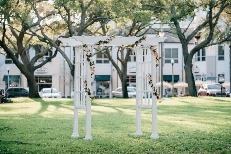 White garden arbor arch