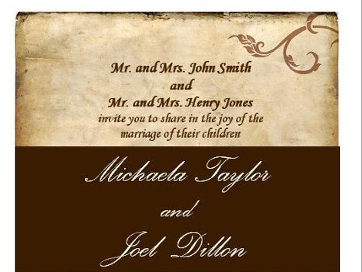Tmx 1280982966245 AntiqueBrownWeddingInvitation Lisle wedding invitation