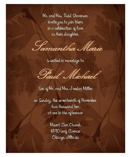 Tmx 1280982966933 BrownLeafWeddingInvitation Lisle wedding invitation