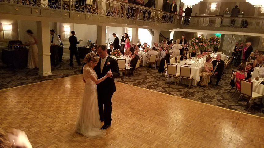 Couple's first dance at St Anthony Hotel