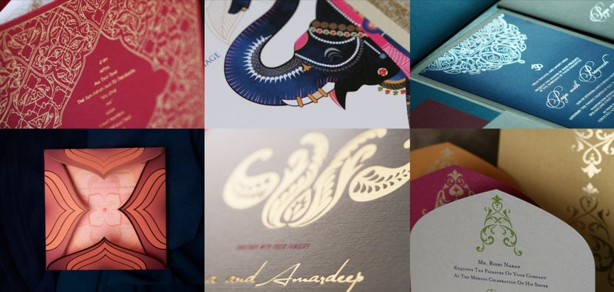 Details from some of our Culturally inspired colorful wedding invitations