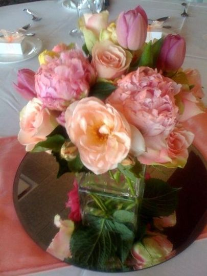 Beautiful late Spring combination of Peonies, Garden roses and tulips