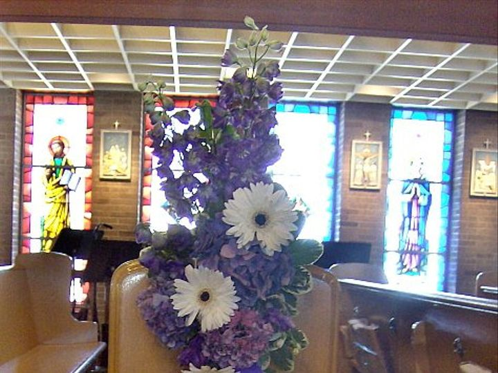 Tmx 1347481300797 Floralaccentsceremony1purplewithwhitegerbspewflowers North Tonawanda wedding florist