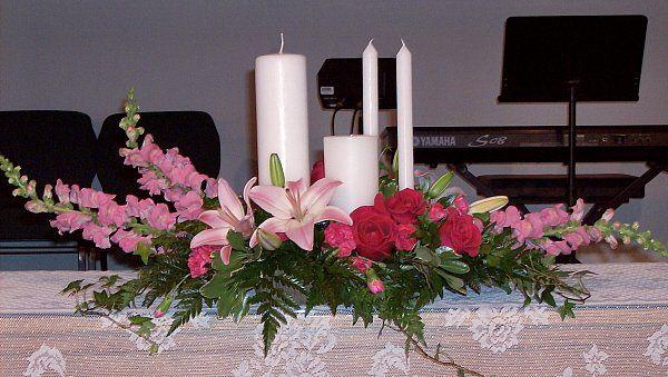 Tmx 1347481305815 Floralaccentsceremony1unitycandlepinksdoublepillar North Tonawanda wedding florist