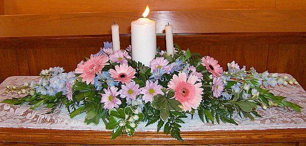 Tmx 1347481576813 Floralaccentsceremonyunitycandlepinkgerbsbluedelphlavdaisies North Tonawanda wedding florist