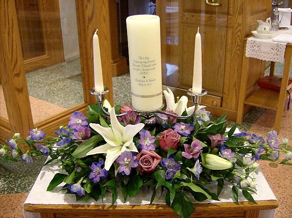 Tmx 1347481582940 Floralaccentsceremonyunitycandlepurplehybriddelphwhitelilyalstro North Tonawanda wedding florist
