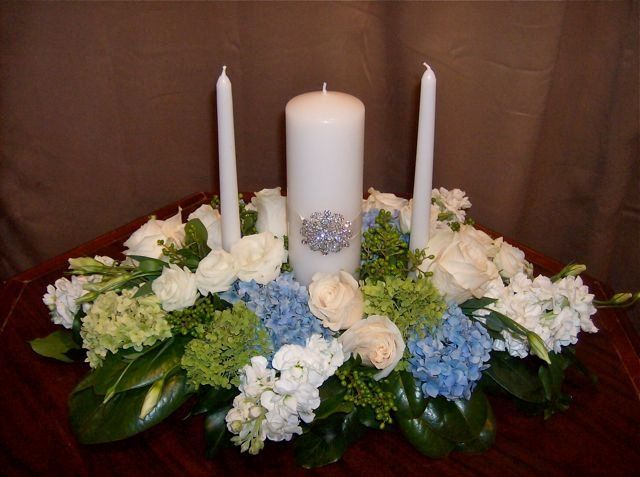 Tmx 1347481620599 Floralaccentsweddingceremonyjuly282012unitycandlebluegreenhydrangea North Tonawanda wedding florist