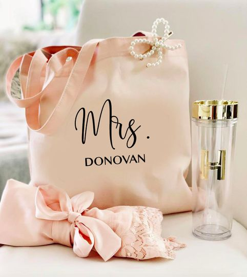 Personalized Mrs. Canvas Tote