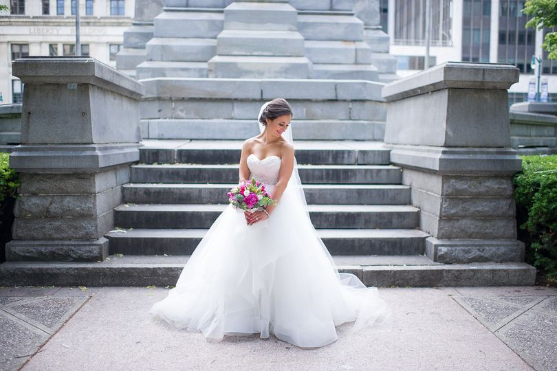 Bride by the stone stairs